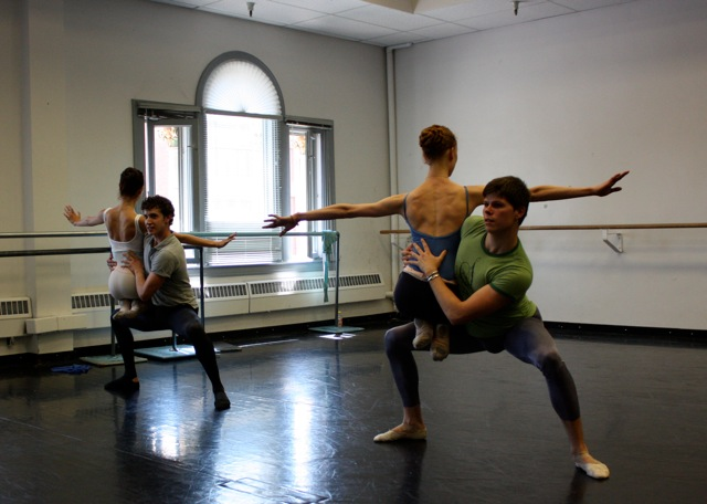 Jamie Lynne Schultz with Henry Philofsky and Elanor Bock with Trevor Neumann in Aidan DeYoung's rehearsal.