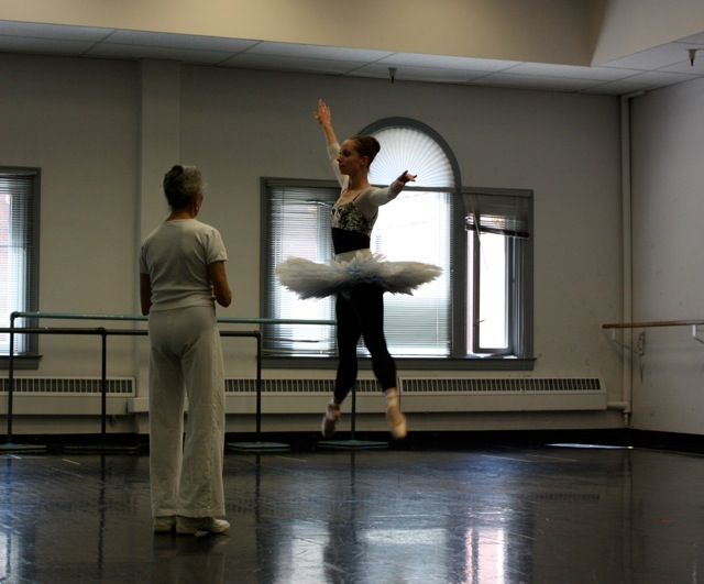 Katherine Lawrence flying for Vicky Simon who is teaching her the role of the Liberty Bell in STARTS AND STRIPES.