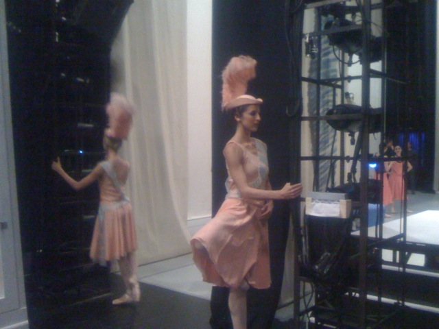 Katie Chritchlow and Allison DeBona warm up before performance #2.