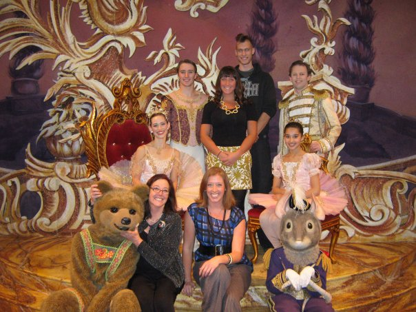 Bottom Row -Julie Adams Terry Shullimson with the bear, Kristen Paige Terry, the Mouse Prince.  Middle row - Victoria Lock - The Sugar Plum Fairy, Christopher Sellars - her Cavaliere, Amanda Scott Terry, Austin Terry, Clara and Aidan DeYoung - The Nutcracker Prince.