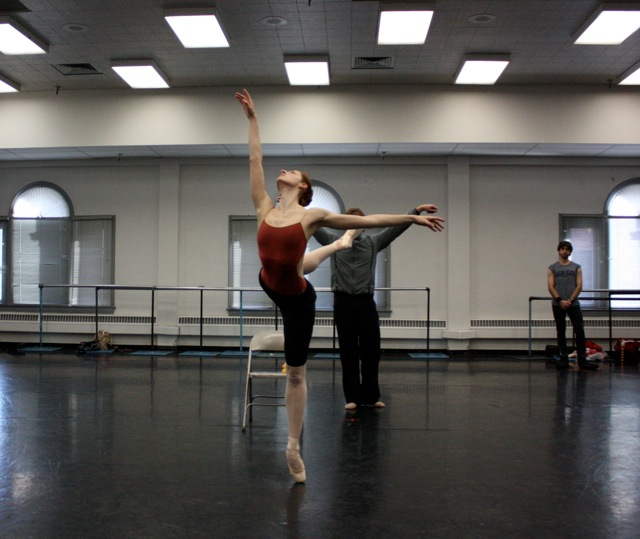 Christiana Bennett, Jason Linsley and Michael Bearden in Swan Lake rehearsal.