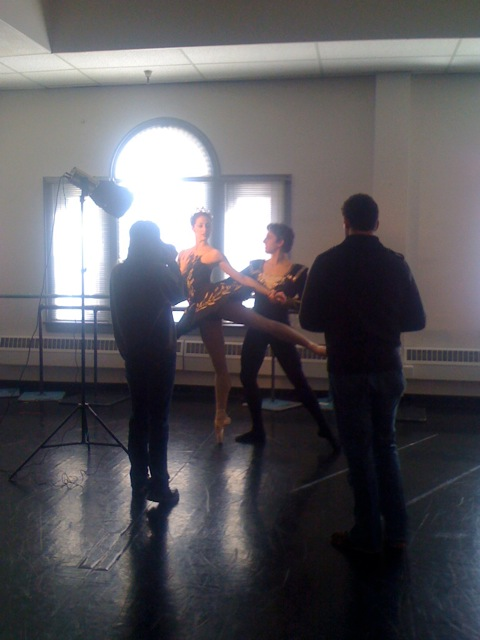 Christiana Bennett and Christopher Ruud work with Adam Sklute a pose for the Tribune photo shoot.