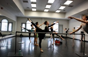 Calvin Kitten teaches Ballet West 2 class.   Katherine Hein in the foreground.