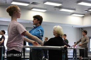 Anna-Marie Holmes corrects Ballet West Principal Artist Christopher Ruud.  Jennifer Robinson, Elizabeth McGrath, Owen Gaj, Beau Pearson and Katherine Lawrence pictured