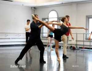Adam Sklute demonstrates a step with Jamie Lynn Schultz