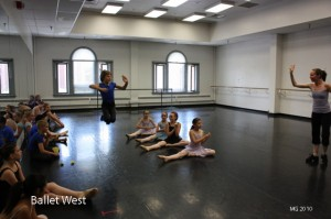 Heather Thackeray teaching repertoire to the younger students at the 'lesser intensive'.